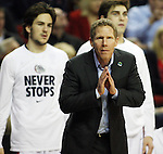 Gonzaga Head Coach Mark Few sends in a play from the sidelines during their game against Iowa during the 2015 NCAA Division I Men's Basketball Championship's March 22, 2015 at the Key Arena in Seattle, Washington. #2 Gonzaga beat #7 Iowa 87-68 to advance to the Sweet 16.©2015. Jim Bryant Photo. ALL RIGHTS RESERVED.