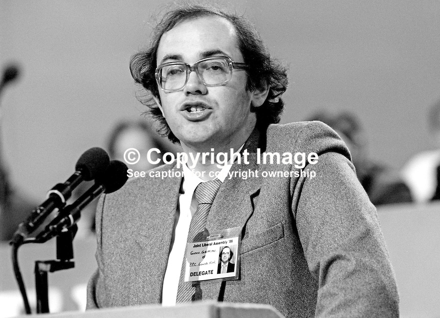 Gwyn Griffiths, PPC, prospective parliamentary candidate, Clwyd North West, Liberal Party, UK, speaking annual conference, September 1986. 19860917GG1<br />