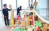 Southbank Centre's Imagine Children's Festival <br /> at the Royal Festival Hall, Southbank, London, Great Britain <br /> 13th February 2015 <br /> <br /> Children interact with Our City installation <br /> <br /> <br /> Photograph by Elliott Franks <br /> Image licensed to Elliott Franks Photography Services