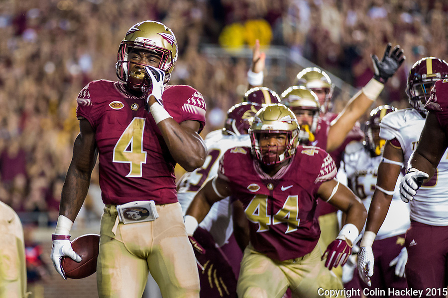 TALLAHASSEE, FLA. 9/5/15-Florida State University's Dalvin Cook walks into the endzone for the first touchdown during first half action in the Florida State University vs. Texas State University football game at Doak Campbell Stadium in Tallahassee.<br /> <br /> COLIN HACKLEY PHOTO