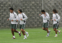 Mexico national soccer team players Claudio Suarez (L-R),  Rafael Garcia, Omar Bravo and Jose Antonio Castro train during a training session at the Centro Pegaso training center, March 27, 2006. Photo by Javier Rodriguez