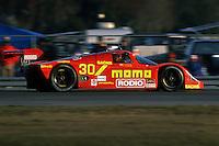 DAYTONA BEACH, FL - FEBRUARY 2: The Joest Racing Porsche 962C of Gianpiero Moretti, Henri Pescarolo, Hans Stuck and Frank Jelinski is driven during the 24 Hours of Daytona IMSA GT race at the Daytona International Speedway in Daytona Beach, Florida, on February 2, 1992.