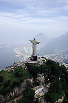 Rio de Janeiro, Brazil. Christ statue, aerial view with the Jockey Club in the background. Corcovado mountain.