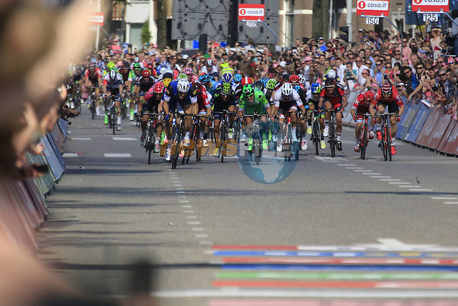 Marcel Kittel (GER) Etixx-Quick Step approaches the finish line at full speed in Nijmegen during Stage 2 of the 2016 Giro d'Italia running 190km from Arnhem to Nijmegen, The Nethrerlands. 7th May 2016.<br /> Picture: Eoin Clarke | Newsfile<br /> <br /> <br /> All photos usage must carry mandatory copyright credit (&copy; Newsfile | Eoin Clarke)