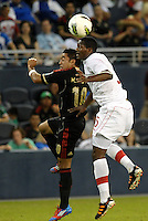 Donell Henry (5) Canada wins the aerial battle against Marco Fabian (10) Mexico... Mexico defeated Canada 3-1 in Olympic Qualifying semi final at LIVESTRONG Sporting Park, Kansas City, Kansas.