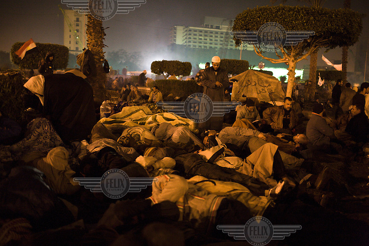 Anti-government protesters bed down for the night in Tahrir Square. 25 January 2011 saw the beginning of a nationwide 18 day protest movement that eventually ended the 30-year rule of Hosni Mubarak and his National Democratic Party.