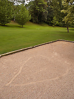 "France. Savoie department. Evian. A heart shape on sand in the garden of the Evian Royal hotel which is a member of the international hotel association ""The Leading Hotels of the World"". 12.07.09 © 2009 Didier Ruef"