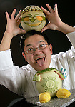 """Garret Fujieda Chef De Cuisine at the Diplomat Country Club dances with his """"Diplomeloman."""" for Halloween."""