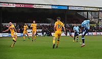 Blackpool's Bright Osayi-Samuel scores his sides first goal  <br /> <br /> Photographer Kevin Barnes/CameraSport<br /> <br /> The EFL Sky Bet League Two - Saturday 18th March 2017 - Newport County v Blackpool - Rodney Parade - Newport<br /> <br /> World Copyright &copy; 2017 CameraSport. All rights reserved. 43 Linden Ave. Countesthorpe. Leicester. England. LE8 5PG - Tel: +44 (0) 116 277 4147 - admin@camerasport.com - www.camerasport.com