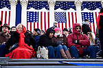 People on a riser at the US Capitol wait for hours in the cold for the Inauguration of President Barack Obama as the 44th President of the United States, Washington, DC. 1/20/09.