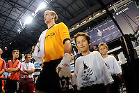 Manchester City F. C. goalkeeper Joe Hart (12) during the entry procession. Sporting Clube de Portugal defeated Manchester City F. C. 2-0 during a Barclays New York Challenge match at Red Bull Arena in Harrison, NJ, on July 23, 2010.