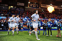 Jack Wilson and the rest of the Bath Rugby team run out onto the field. European Rugby Challenge Cup match, between Cardiff Blues and Bath Rugby on December 10, 2016 at the Cardiff Arms Park in Cardiff, Wales. Photo by: Patrick Khachfe / Onside Images