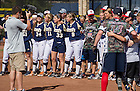 Sept. 29. 2013; The Irish Softball Team and the Wounded Warrior Amputee Softball Team sing the Notre Dame Alma Mater after their fundraiser game.<br /> <br /> Photo by Matt Cashore/University of Notre Dame