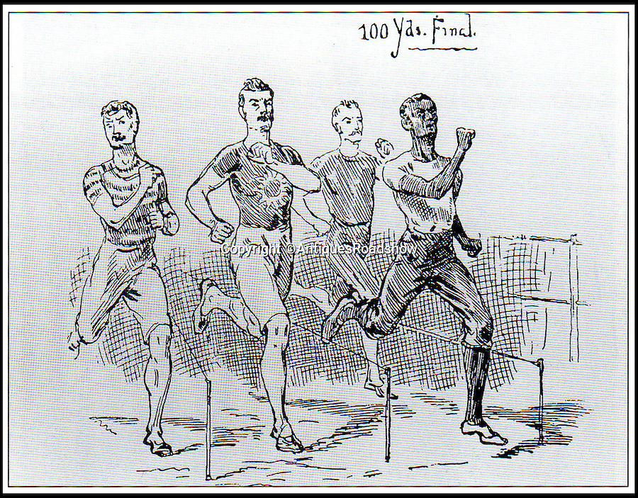 BNPS.co.uk (01202 558833)<br /> Pic: AntiquesRoadshow/BNPS<br /> <br /> A sketch of Arthur Wharton winning a 'all white' 100 yard dash. <br /> <br /> The little-known story of the first professional black footballer to play in England over 100 years ago only to become a poor minner has emerged.<br /> <br /> Arthur Wharton was a teenage immigrant from the Gold Coast - Ghana - who came from a wealthy family and was sent to the UK for a Christian education.<br /> <br /> While here he developed into an incredibly talented athlete and excelled at running, football and cricket.<br /> <br /> After winning the AAA national championships for the 100 yard sprint, Arthur went on to become an accomplished goalkeeper.<br /> <br /> In 1888 he signed professional terms with Preston North End who played in the old Division One, what is now the Premier League.