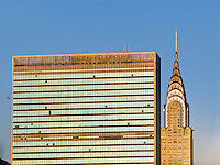NYC, NY, The United Nations building designed by Le Corbusier and the Chrysler Building designed by William Van Alen