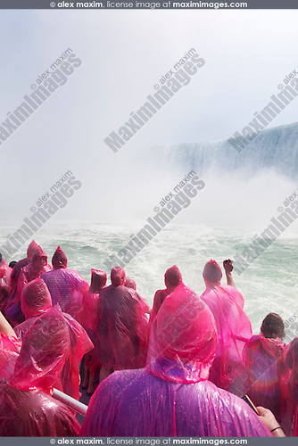 People on a boat ride at Niagara Falls. Hornblower Niagara Cruises, Ontario, Canada 2014.