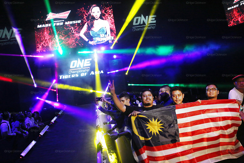 Malaysian fans with a Malaysian flag flank the walkway down to the ring, all eager to shake hands with the stars.<br /><br />MMA. Mixed Martial Arts &quot;Tigers of Asia&quot; cage fighting competition. Top professional male and female fighters from across Asia, Russia, Australia, Malaysia, Japan and the Philippines come together to fight. This tournament takes place in front of a ten thousand strong crowd of supporters in Pelaing Stadium. Kuala Lumpur, Malaysia. October 2015
