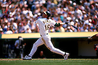OAKLAND, CA - Jason Giambi of the Oakland Athletics in action during a game at the Oakland Coliseum in Oakland, California in 1996. Photo by Brad Mangin