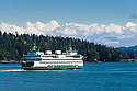 "Washington State Ferry ""Hyak"" leaving Shaw Island, San Juan Islands, Washington."
