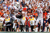 HAWGS ILLUSTRATED JASON IVESTER --08/30/2014--<br /> Arkansas sophomore tight end Hunter Henry (right) celebrates as junior running back Jonathan Williams gets into the end zone for a touchdown on Saturday, Aug. 30, 2014, against Auburn at Jordan-Hare Stadium in Auburn, Ala.