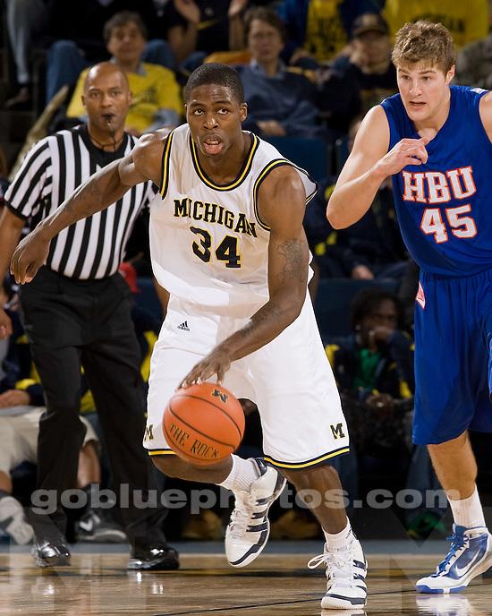 University of Michigan basketball (men) 77-55 victory over Houston Baptist University at Crisler Arena on 11/20/09.