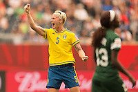 WINNIPEG, MANITOBA, CANADA - June 8, 2015: The Woman's World Cup Sweden vs Nigeria match at the Winnipeg Stadium .