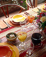 This table is laid with classic and instantly recognisable Missoni fabric placemats and table runner