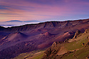 Haleakala Crater at dawn, with Mauna Loa and Mauna Kea in the distance; Haleakala National Park, Maui, Hawaii.