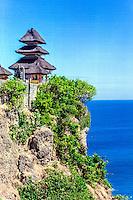 Bali, Badung, Uluwatu. Pura Luhur Uluwatu is beautifully located on top of a high cliff. Looking west.