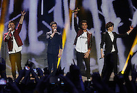20/11/13<br /> Union J(L-R)Jaymi Hensley,JJ Hamblett,Josh Cuthbert and George Shelley pictured performing at the Cheerios Childline Concert at the O2 Dublin this evening&eth;. <br /> Pic Collins Photos
