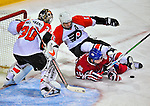 18 December 2008: Philadelphia Flyers' left wing forward Simon Gagne falls over Montreal Canadiens left wing forward Andrei Kostitsyn from Belarusse defending outside the crease at the Bell Centre in Montreal, Quebec, Canada. The Canadiens look to avoid a four-game slide, while the Flyers seek their sixth win in a row. The Canadiens defeated the Flyers 5-2. ***** Editorial Sales Only ***** Mandatory Photo Credit: Ed Wolfstein Photo