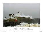 Stunning photo of Nubble Lighthouse during the Patriot's Day Storm. York Beach, Cape Neddick, Maine