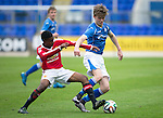 St Johnstone Academy v Manchester Utd Academy&hellip;.06.05.16  McDiarmid Park, Perth<br />Nathan Brown and Reece Ellington<br />Picture by Graeme Hart.<br />Copyright Perthshire Picture Agency<br />Tel: 01738 623350  Mobile: 07990 594431