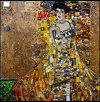 BNPS.co.uk (01202 558833)<br /> Pic: Bluebowerbird/BNPS<br /> <br /> Gustav Klimt's iconic portrait of Adele Bloch-Bauer rendered in rubbish.<br /> <br /> PopArt - Artist Jane Perkins recreates famous people and paintings from recycled plastic rubbish.<br /> <br /> Her stunning 'Plastic Classics' generate the most interest and sell for thousands of pounds.<br /> <br /> She has created rubbish replica's of famous paiintings by Van Gogh's, Monet, Raphael, Gustav Klimt, Salvi and Frida Kahlo as well as Japanese artist Katsushika Hokusai's the Great Wave of Kanagawa.<br /> <br /> She also creates pictures of animals for private commissions. For example, a stunning work of a tiger's head is made up of objects like plastic toy animals, golf tees and beads.<br /> <br /> Jane, a former hospital nurse from Kenton, near Exeter, Devon, now sells her work for up to &pound;2,500 a go.<br /> <br /> She said: &quot;I go to car boot sales and buy anything that is plastic, mostly toys and bits of broken jewellery, anything small. The neighbours often give me bags of bits and pieces they no longer want. <br /> <br /> &quot;People love them because they can see the whole image but also see what is in it. They can find things in them that they recognise, like little bits from their childhood.