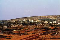 The Arab village of Al Jeeb north of Jerusalem  with freshly plowed fields in the foreground.