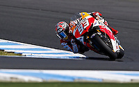 Honda MotoGP rider Marc Marquez of Spain rides during qualifying session at the Australian Motorcycle GP in Phillip Island, Oct 19, 2013. Photo by Daniel Munoz/VIEWpress IMAGE RESTRICTED TO EDITORIAL USE ONLY- STRICTLY NO COMMERCIAL USE.