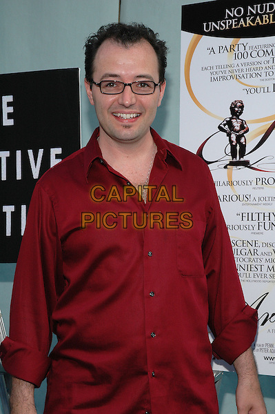 """ERIC MEAD.""""The Aristocrats"""" Premiere,.The Directors Guild Theater,.New York, 26th July 2005.half length half-length red shirt glasses.www.capitalpictures.com.sales@capitalpictures.com.© Capital Pictures."""