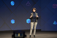 Facebook executive Regina Dugan presents a project that would allow people to type in - with the help of sensors - words diretly from their brains into the computer, during Facebook's developer conference F8, in San Jose, California, Us, 19 April 2017. Photo: Andrej Sokolow/dpa /MediaPunch ***FOR USA ONLY***