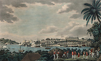 View to the North East of Fort Louis in Martinique in the Caribbean, 1796, by Williams Cooper, in the Musee d'Aquitaine, Cours Pasteur, Bordeaux, Aquitaine, France.  Martinique changed hands several times between the French and English during the colonial wars. Picture by Manuel Cohen