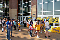 SAN ANTONIO, TX - MARCH 5, 2008: The St. Mary's University Rattlers Women's Basketball team receives a warm send off from the Bill Greehey Arena on their way to the Heartland Conference Basketball Tournament. (Photo by Jeff Huehn)