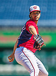 1 June 2014: Washington Nationals starting pitcher Gio Gonzalez pitches a simulated game before the team takes batting practice prior to a game against the Texas Rangers at Nationals Park in Washington, DC. The Nationals defeated the Rangers 10-2 to sweep their 3-game inter-league series. Mandatory Credit: Ed Wolfstein Photo *** RAW (NEF) Image File Available ***