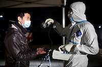 A man is tested for radiation at a decontamination center for families who were in the potential contamination zone around one of the nuclear plants that leaked following the earthquake and tsunami. On 11 March 2011 a magnitude 9 earthquake struck 130 km off the coast of Northern Japan causing a massive Tsunami that swept across the coast of Northern Honshu. The earthquake and tsunami caused extensive damage and loss of life and damaged Fukushima nuclear reactor. Two of the power station's reactors sustained extensive damage after explosions at the plant.