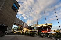 Norway, Vesteraalen. Stokmarknes with the Coastal Express Museum (Hurtigruta).