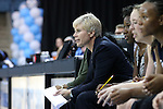 04 November 2015: Wingate head coach Ann Hancock. The University of North Carolina Tar Heels hosted the Wingate University Bulldogs at Carmichael Arena in Chapel Hill, North Carolina in a 2015-16 NCAA Women's Basketball exhibition game. UNC won the game 86-84.