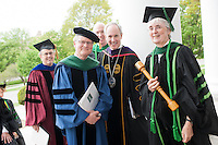 Dean Rick Morin, M.D., second from left, UVM President Thomas Sullivan, Marga Sproul, M.D. Commencement, class of 2013.