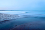 Swilken Burn Running Out to Sea at West Sands at Dusk St Andrews Fife Scotland