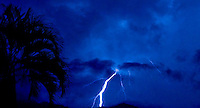 Lightning strikes in Playas Conchas Chinas, Mexico.