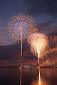 "August 12, 2011, Iwaki, Japan - Fireworks light up the sky over the Onahama port during the ""LIGHT UP NIPPON"" event in Iwaki, Fukushima prefecture on Thursday, August 12, 2011. This projects are held at 10 places simultaneously along the Pacific coast of northeastern region devastated by the March 11 earthquake and tsunami. People pray for the victims on five-months anniversary. (Photo by Jiro Tateno/AFLO) [3702] -ty-"