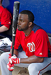 23 February 2013: Washington Nationals outfielder Denard Span sits in the dugout awaiting the start of play prior to a Spring Training Game against the New York Mets at Tradition Field in Port St. Lucie, Florida. The Mets defeated the Nationals 5-3 in their Grapefruit League Opening Day game. Mandatory Credit: Ed Wolfstein Photo *** RAW (NEF) Image File Available ***