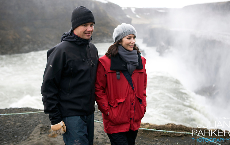 Crown Prince Frederick and Crown Princess Mary of Denmark on a four day official visit to Iceland, visit The Gullfoss waterfall, in Iceland